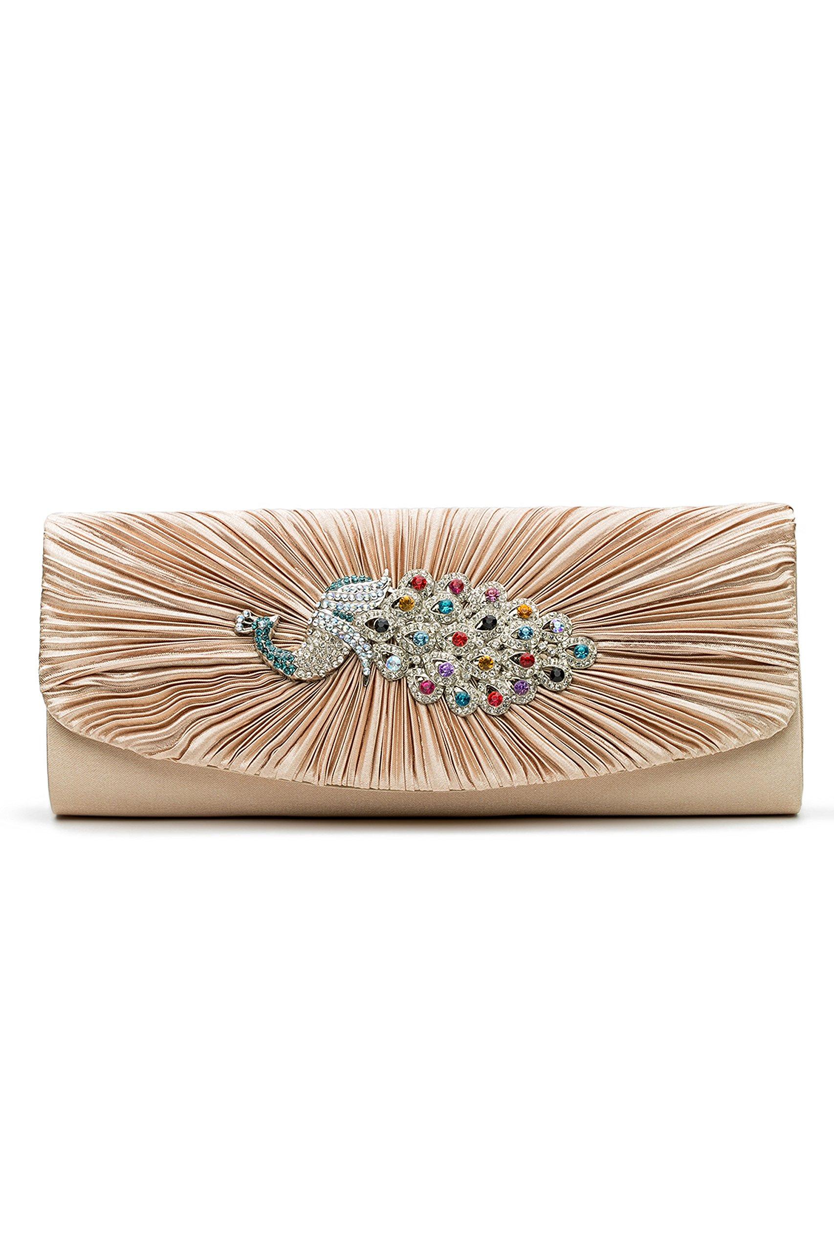 Women Envelope Clutch Bag Peacock Crystal Purse Glitter Handbag With Chain Strap (gold)