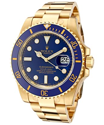 Rolex Men\u0027s Submariner Automatic Blue Dial Oyster 18k Solid Gold
