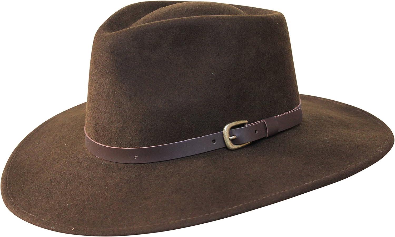 Resistente al Agua Banda de Piel B/&S Premium Lewis Sombrero de ala Ancha Fedora 100/% Fieltro de Lana