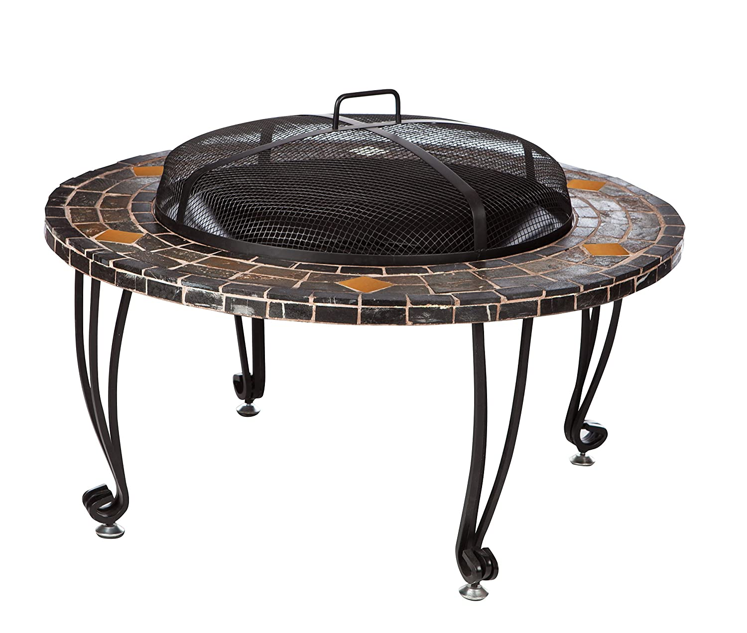 AmazonBasics Natural Stone Fire Pit with Copper Accents - 34-Inch