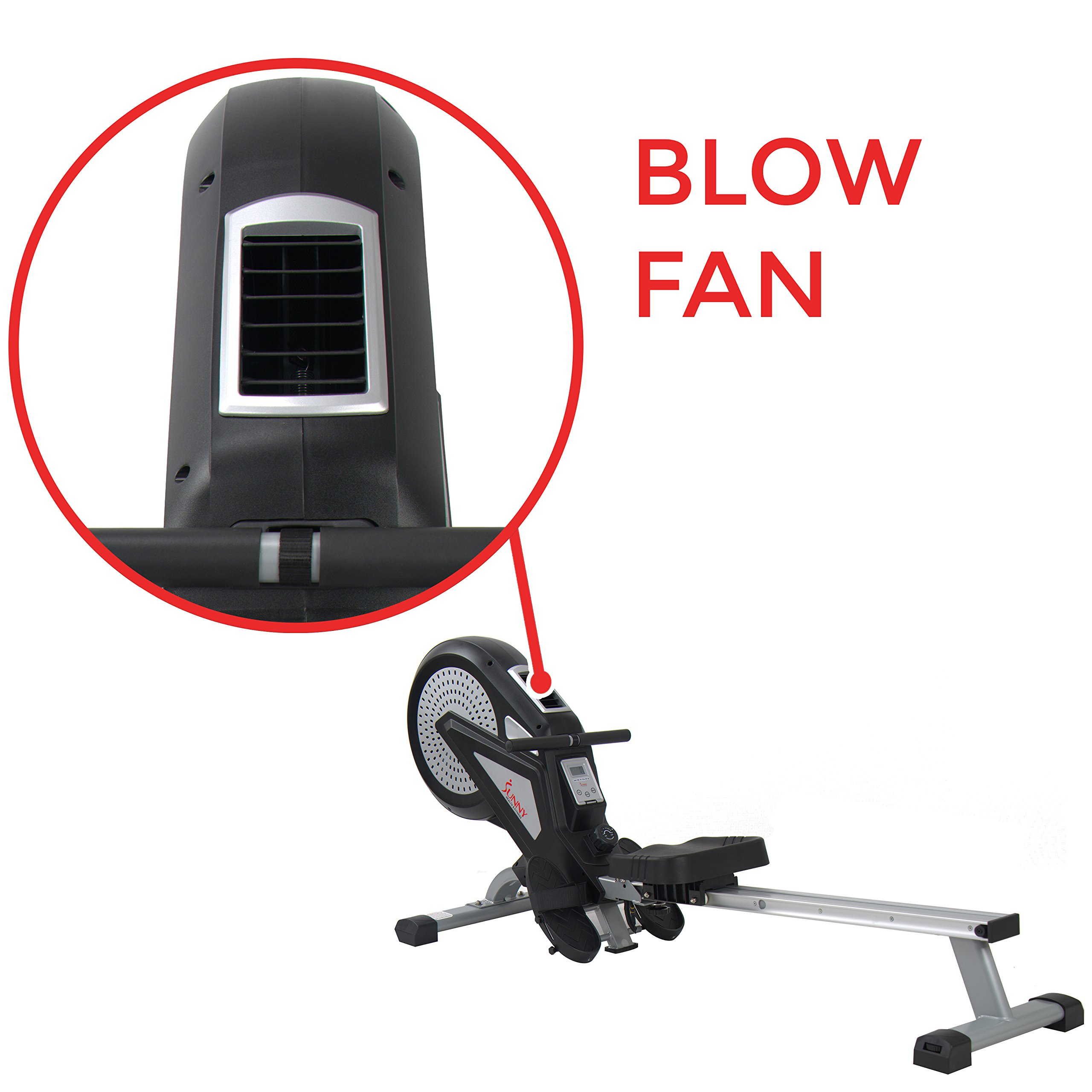 Sunny Health & Fitness Air Rower Rowing Machine w/ LCD Monitor, Dual Belt and Air Resistance SF-RW5623 by Sunny Health & Fitness (Image #7)