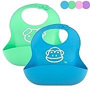 OBB Soft Silicone Baby Bib | Set of 2 (Blue/Green)