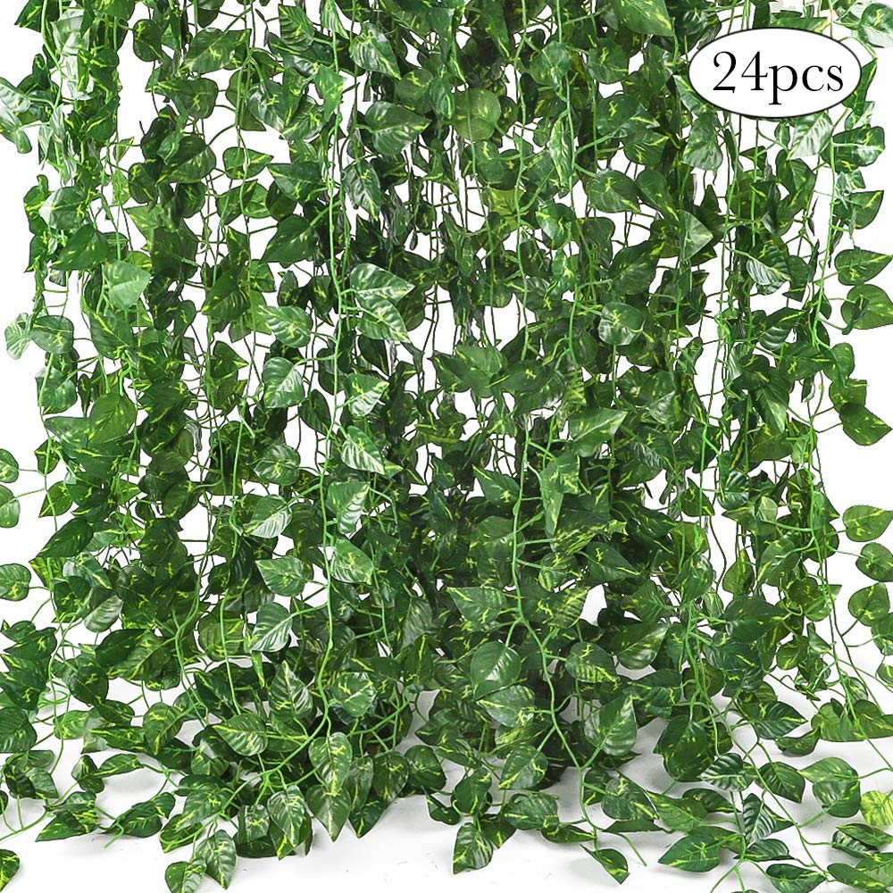 CEWOR Artificial Greenery Artificial Vines Fake Ivy Leaves for Home Wedding Garden Swing Frame Decoration (C-24pcs)