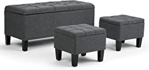 SIMPLIHOME Dover 44 inch Wide Rectangle 3 Pc Lift Top Storage Ottoman in Upholstered Slate Grey Tufted Linen Look Fabric, Footrest Stool, Coffee Table for the Living Room, Contemporary