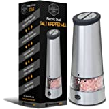 Dual Electric Pepper Grinder & Salt Mill - 2-in-1 Kitchen Gadget, Electronic Battery Powered, Push Button Operation, Stainless Steel - by HomeKitchenStar