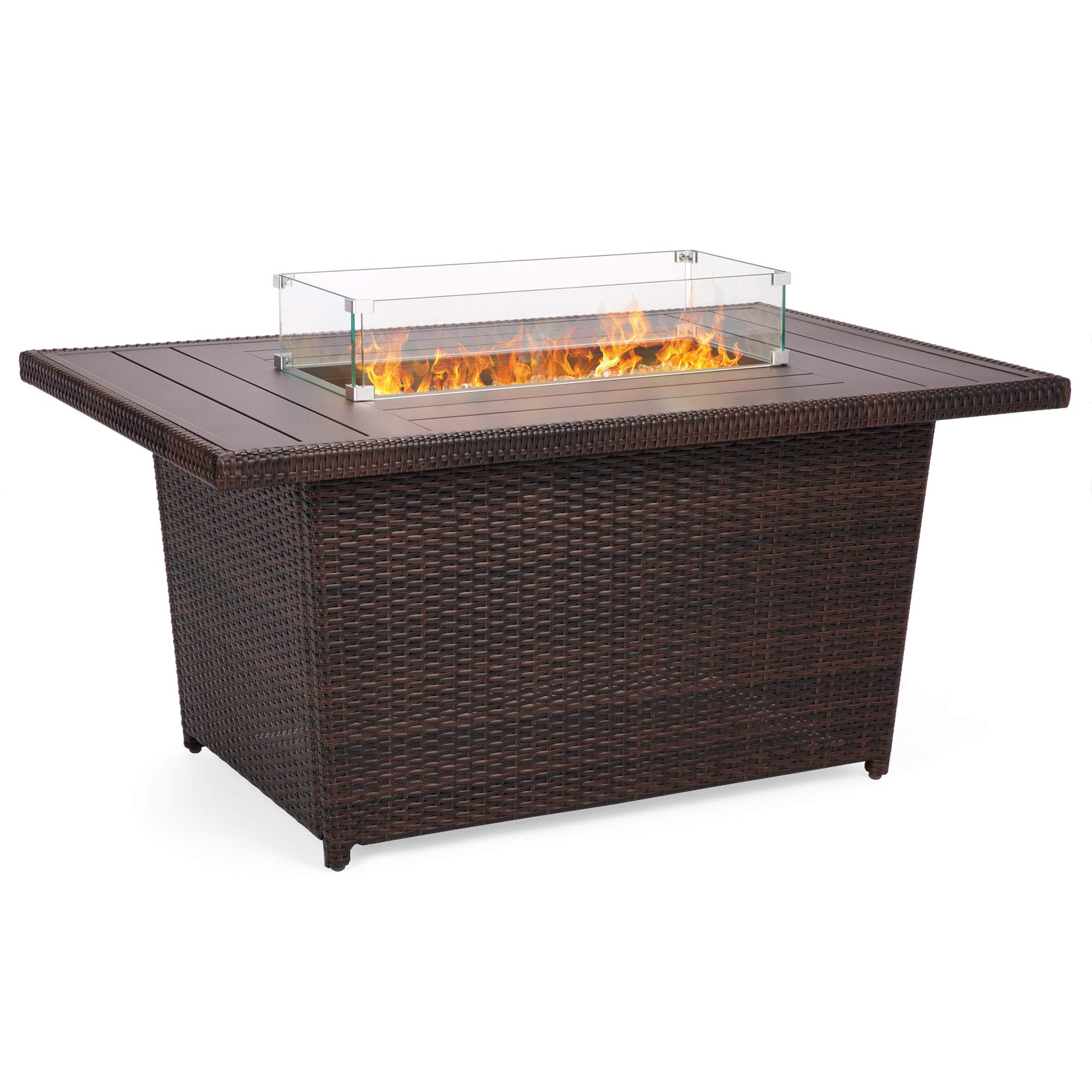 Best Choice Products 52in Outdoor Wicker Propane Fire Pit Table 50,000 BTU w/Glass Wind Guard, Tank Holder, Cover-Brown by Best Choice Products