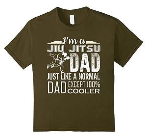 Kids Jiu Jitsu Tee Shirts - I'm A Jiu Jitsu Dad Cooler Shirts 6 Olive
