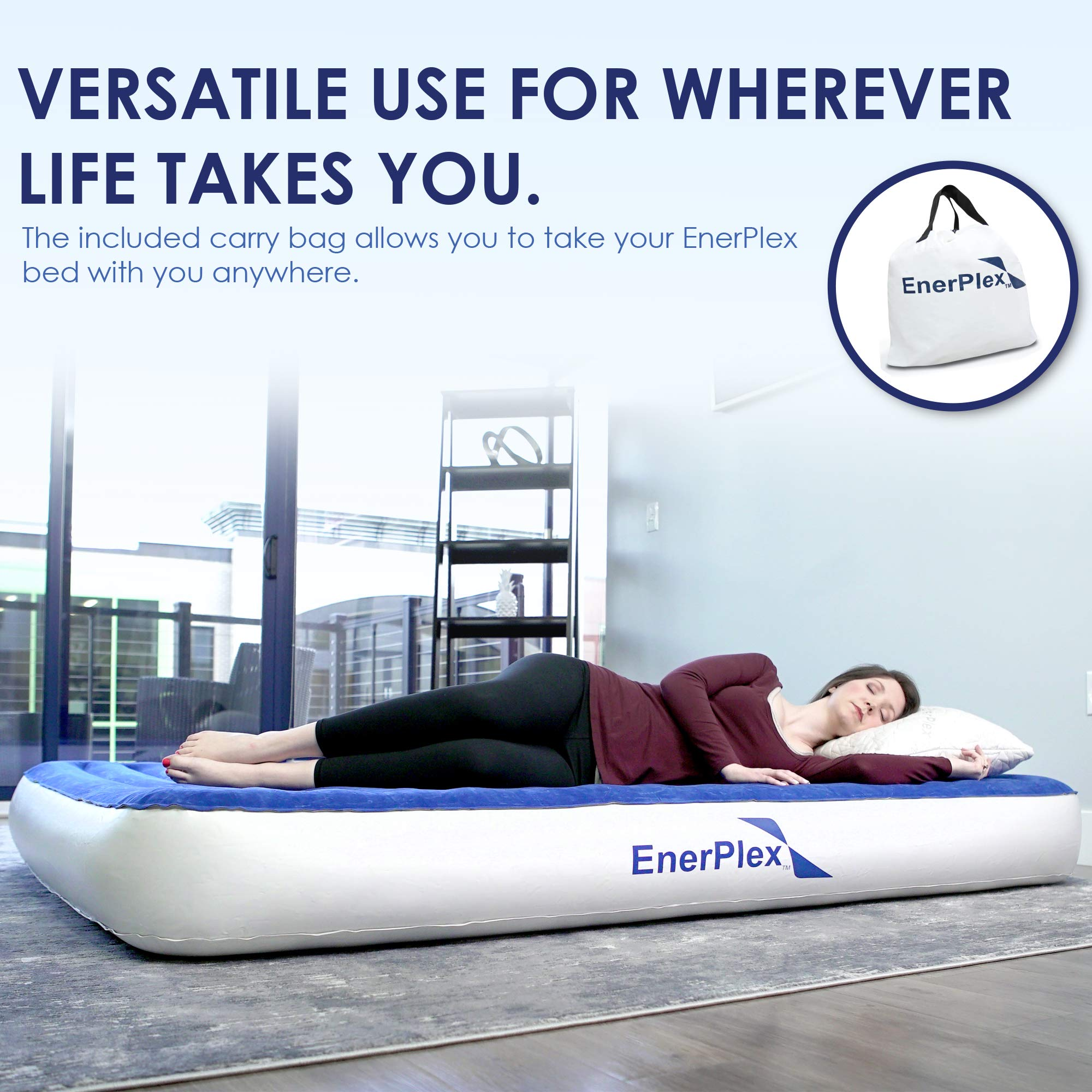 EnerPlex 2019 Camping Luxury Queen Size Air Mattress Camping Queen Airbed with High Speed Wireless Pump Single High Inflatable Blow Up Bed for Home Camping Travel 2-Year Warranty by EnerPlex (Image #6)
