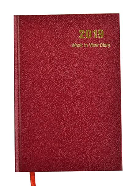 Agenda 2019, vista semanal, tapa dura., color A5 - Burgundy