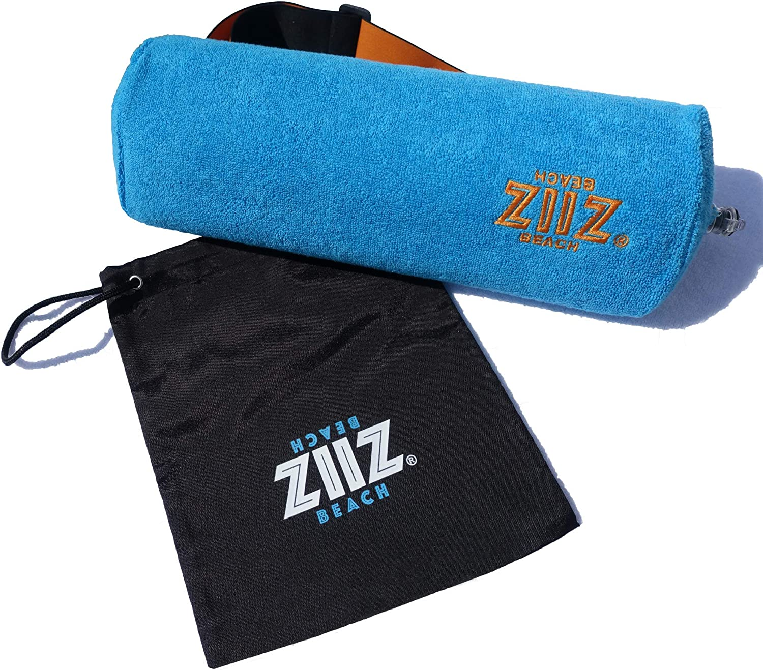Pool car Beach Easy Blow up Compact for Lightweight Comfort in Airplane Water Resistant Pouch. Luxuriously Soft Washable 100/% Cotton Cover Garden and Home ZIIZ Inflatable Neck Beach Pillow