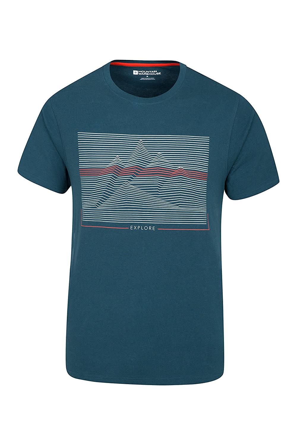Mountain Warehouse Linear Mountain Mens Tee - Lightweight, Breathable Summer Tshirt, Quick Drying Undershirt, Quick Wick, Easy to Pack Top - for Spring Travelling & Gym