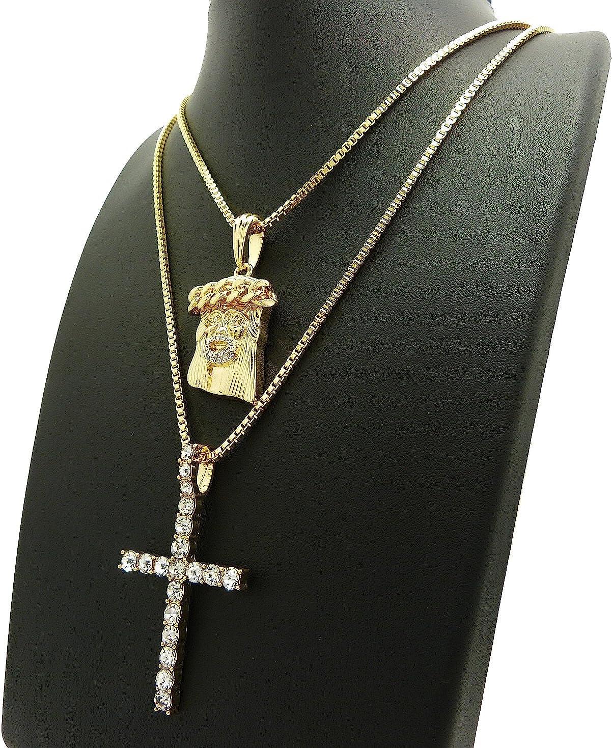 NYFASHION101 Stone Stud Slim Cross /& Crown of Thorns Jesus Head Pendant Set w//Box Chain Necklaces Gold-Tone