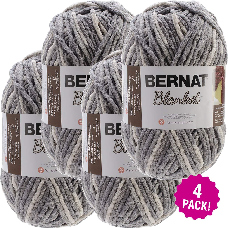 Bernat 99672 Blanket Big Ball Yarn-Silver Steel, Multipack of 4, Pack