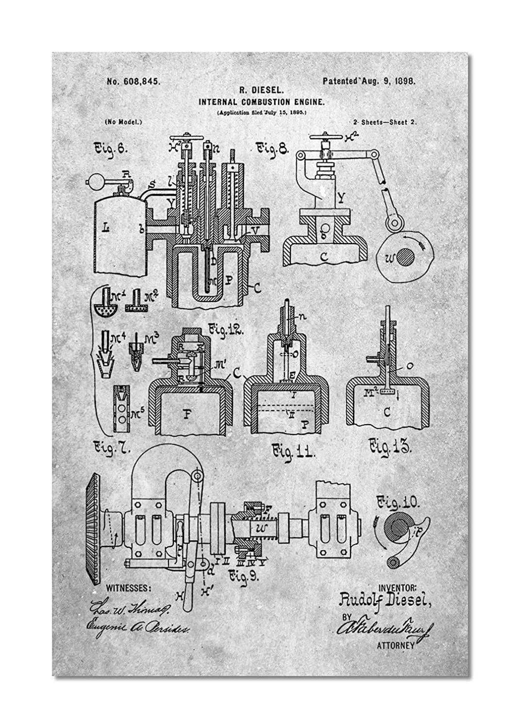 Diesel Engine 1898 Patent Poster Posters Prints Combustion Diagram For Idiots