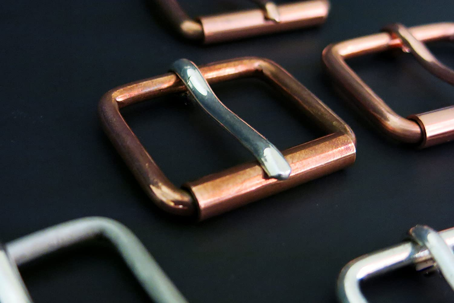 Solid Copper Belt Buckle-Solid Copper Bridle Roller Buckle w/.925 Sterling Prong