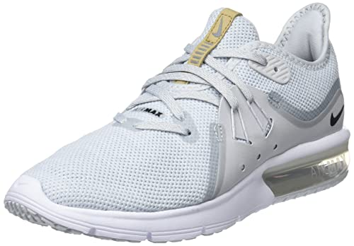 Nike WmnsAir MAX Sequent 3, Zapatillas de Running para Mujer, Dorado (Pure Platinum/Black/White 008), 39 EU: Amazon.es: Zapatos y complementos