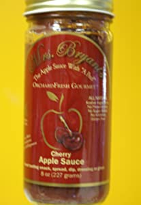 "Cherry Apple Sauce - All Natural Gluten Free NO SUGAR Added Vegan Cherry Applesauce (8 oz jar) "" Best Apple Sauce Ever In A Jar "" Washington Post"