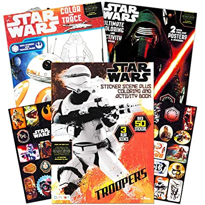 Star Wars Coloring Book Super Set with Stickers and Posters (3 Jumbo Books - Over 200 Pages Total, 2 Posters, Over 30 Stickers): Toys & Games