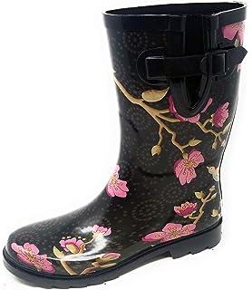 21ffd7d86c0c9 Amazon.com | Jiu du Women's Block Heel Waterproof Rain Boots and ...