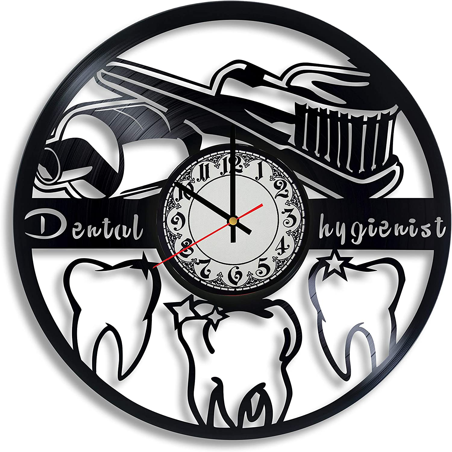 Lepri4ok Dental Hygienist Vinyl Record Wall Clock, Dental Hygienist Gift for Any Occasion, Dentist Office Decor, Orthodontics Art