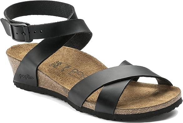 Birkenstock Lola Wedge Limited Edition Papillio Narrow Sandal Women's Black Leather, 40.0