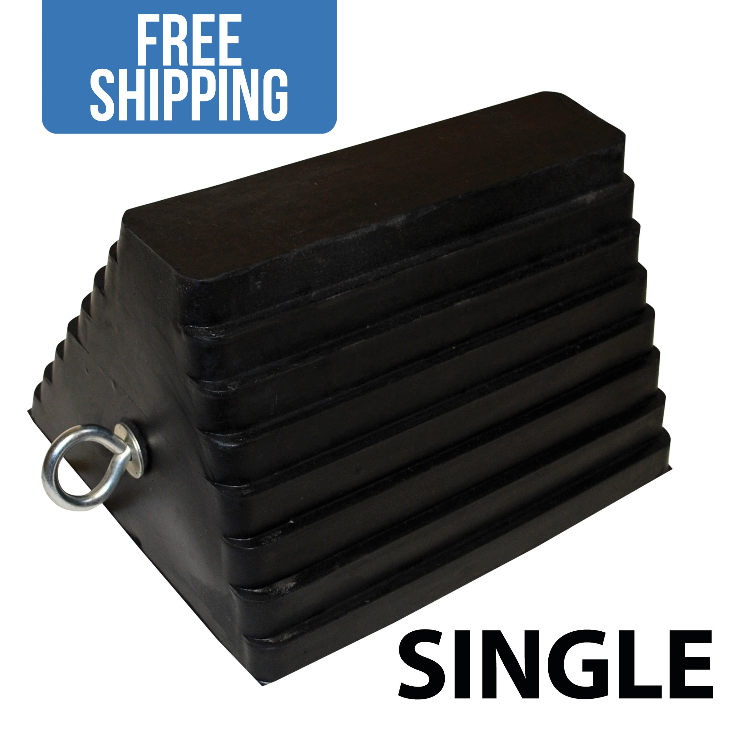 Rubber Wheel Chock with Eyebolts - SINGLE - Shippers Supplies