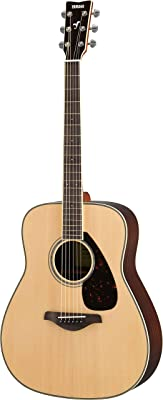 Yamaha FG830 Solid Top Acoustic Guitar, Natural - Acoustic Guitar for Beginner