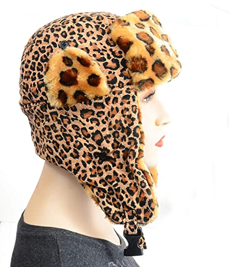 b0e1fc1f60b Image Unavailable. Image not available for. Color  Furry Vegan Friendly  Leopard Cold Weather Ushanka Trapper Hat