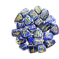 Arts of India Lapis Lazuli Stone Rune Set Tumbled Engraved Lettering Crystal Set for Wicca Reiki Crystal Healing