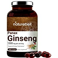 Korean Red Ginseng Supplements (Panax Ginseng Root), 1500mg Per Serving, 180 Liquid Softgels, Most Active Ginsenosides Content, Strongly Support Energy Performance and Immune System, No GMOs