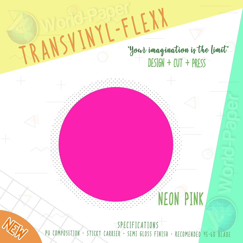 Heat Transfer Vinyl 10' x 1 Yard Roll T-Shirt IRON ON All Cutting Machines (Neon Pink) WORLD-PAPER