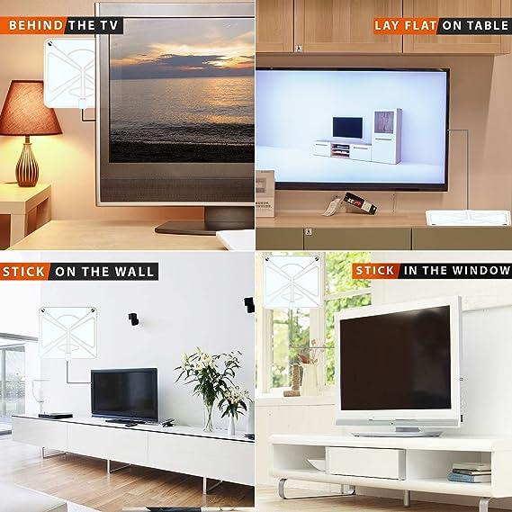 Antena de TV Buddy 2018, kit de antena de TV digital HD de 80 millas de alcance, potente amplificador de señal HDTV y adaptador de TV, compatible con 4K 1080p y todos