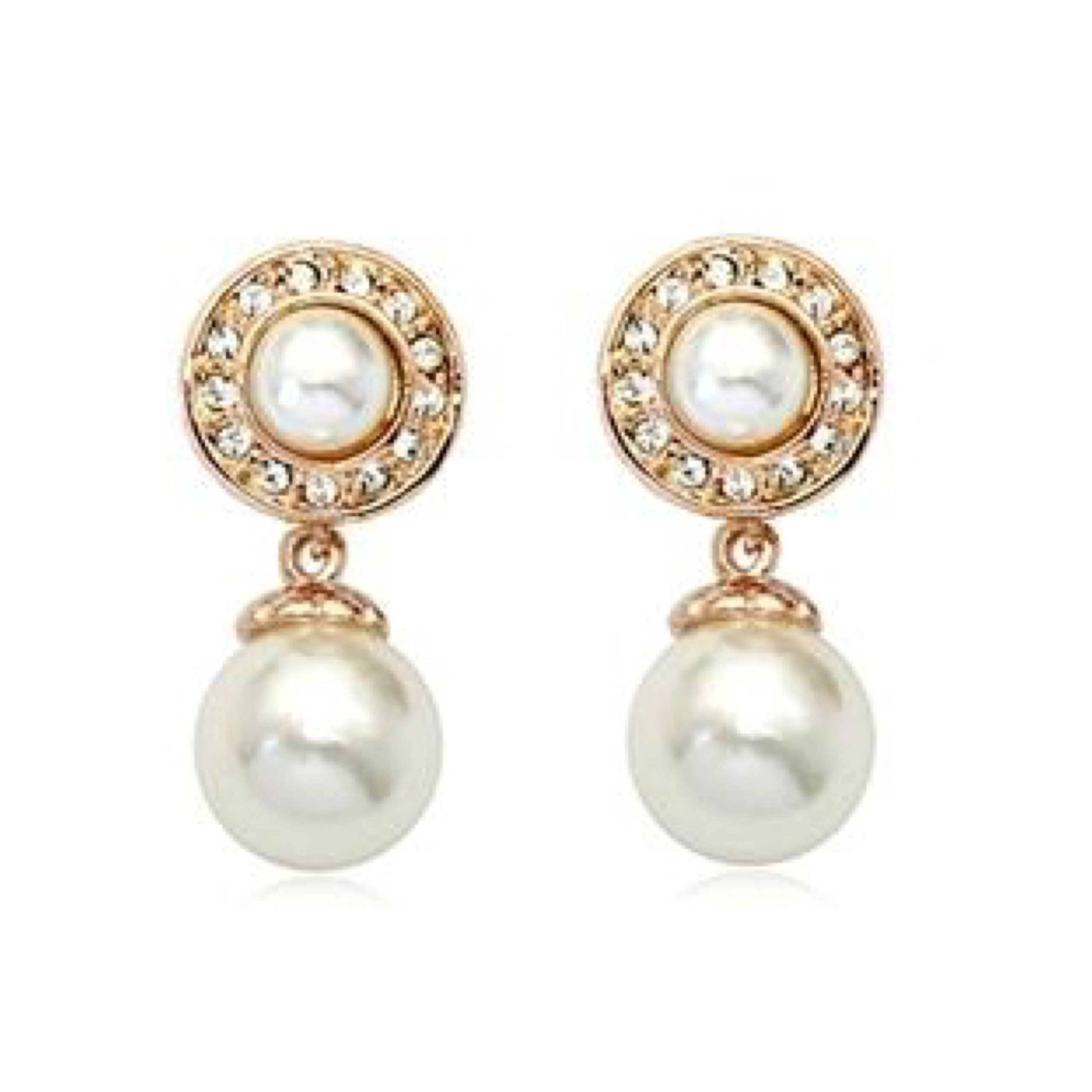 JNA Collection 2018 Mother's Day Love Romantic Gift 18K Gold Plated Austrian Crystal Two White Pearls Bridal Drop Dangle Fashion Stud Earrings for Girfriend Mom Wife Fiancée