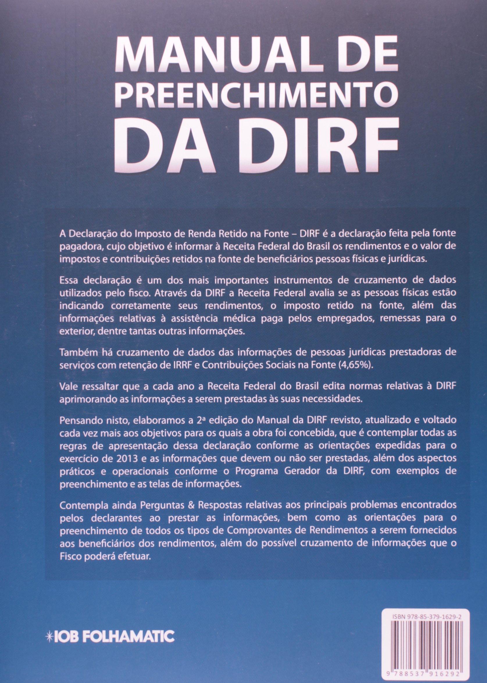 manual de preenchimento da d i r f 9788537916292 livros na rh amazon com br manual dirf 2013 O Que E Dirf