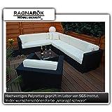 PolyRattan Lounge DEUTSCHE MARKE - 8 Jahre GARANTIE - EIGNENE PRODUKTION Garten Möbel incl. Glas und Polster Ragnarök-Möbeldesign (schwarz) Gartenmöbel
