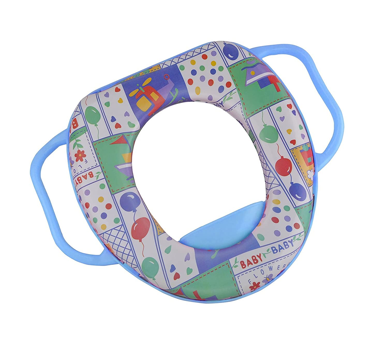 394274 Asiento reductor de inodoro niños HIGUA RILUX con asas y asiento tapizado - Azul MEDIA WAVE store ®