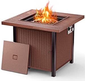 Fire Pit Table, 28Inch Golden Red Outdoor FirePitPropane,Square Rattan-Plaited Fire Table withLid, 50000BTU, Auto-Ignition, AdjustableFlame,ETL-Certified, Suitable for Courtyard/Patio/Balcony