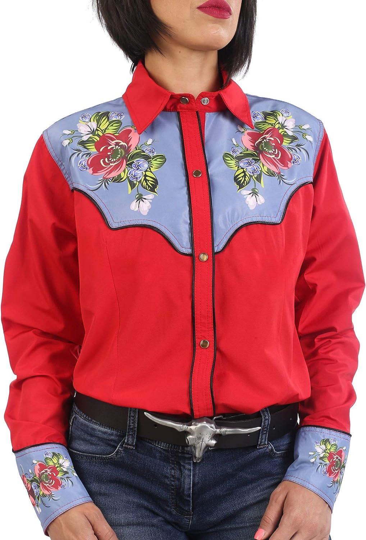 Last Rebels Country Line Dance - Camisa para Mujer, diseño de Flores, Color Rojo: Amazon.es: Ropa y accesorios