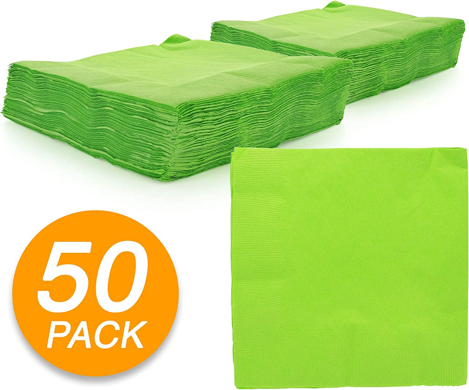 "Birthday Dinner Amcrate Big Party Pack 125 Count Kiwi Green Beverage Napkins Party 5/"" x 5/"" Lunch Ideal for Wedding Cocktails."