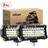Nilight 18022C-B 16.5 cm 2 Piezas 120 W Spot & Inlood Combo Bar Conducción Impermeable Led Luz de Trabajo Triple Filas Off-Ro