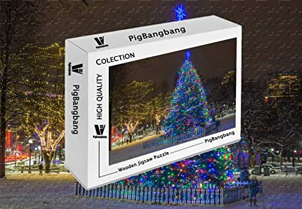 Amazon Com Pigbangbang Wooden Cartoon Jigsaw With Glue New Year Christmas Tree Lights Night Winter Snow City 1000 Piece Jigsaw Puzzle 29 5 X 19 6 Toys Games Download light tree images and photos. amazon com
