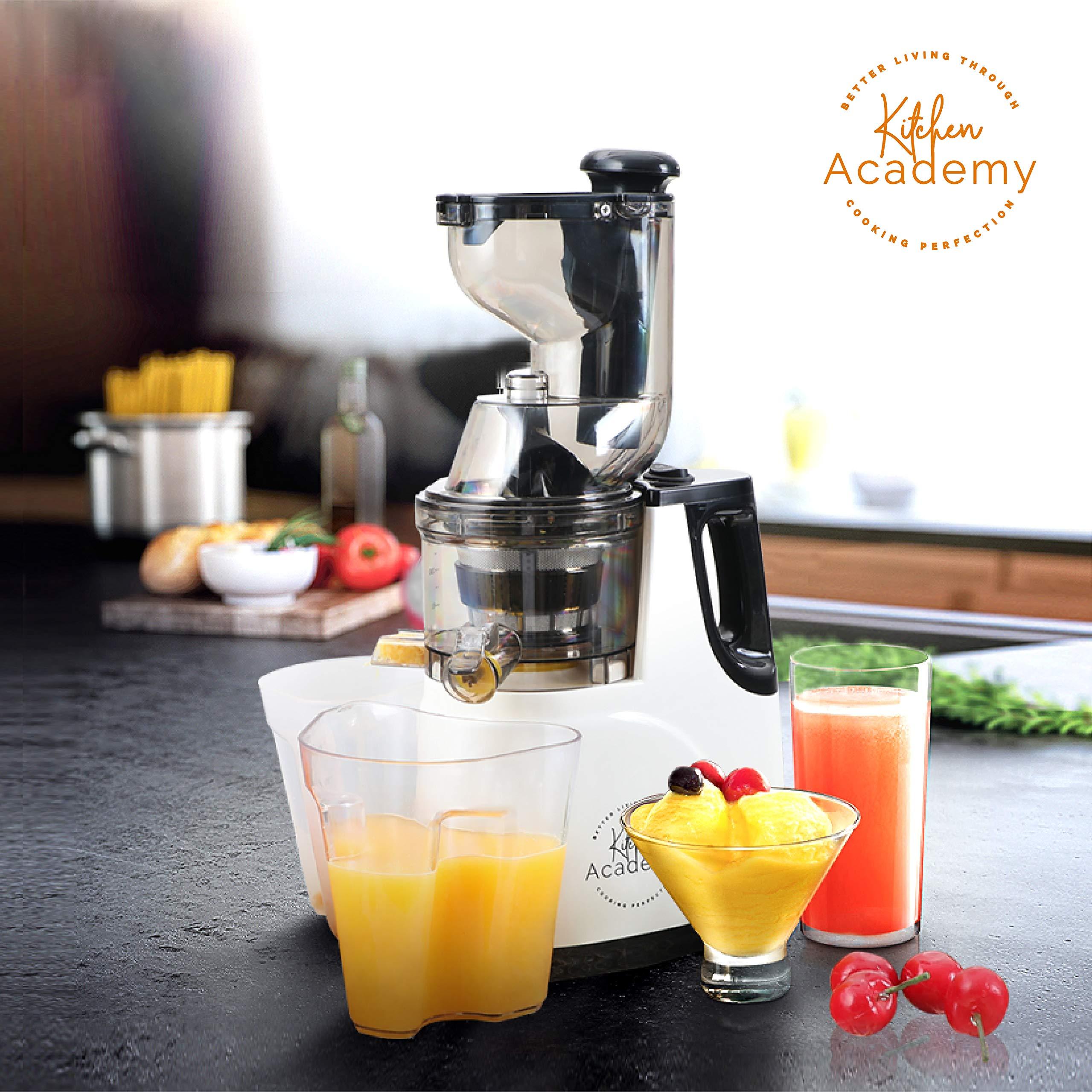 Kitchen Academy Slow Juicer, Large Feed Chute Masticating Juicer Machine, Ultra Efficient 150W, 60 RPMs, Ceramic White - Ceramic White