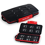 Skoloo Memory Card Holder, SNUGLY-FIT/Waterproof/12+12 Slots/SD Micro SD SDHC SDXC TF Card Carrying Case Organizer Box Wallet for SanDisk Nintendo Kingston Camera Canon Samsung, Black (Color: 24 Slots, Tamaño: 1 Pack)