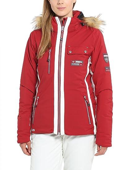 Ultrasport Damen Skijacke Snowflake in Rot o. Schwarz - Alpin Softshelljacke winddicht, wasserdicht & atmungsaktiv - Funktion