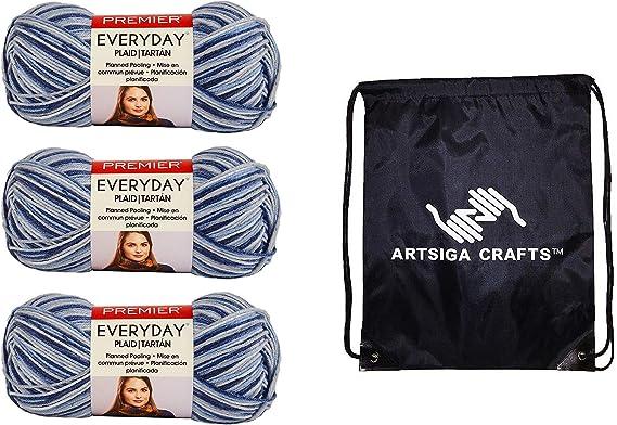 Ovillo de lana para tejer de primera calidad, a cuadros, paquete de fábrica de 3 madejas (mismo lote de tinte) con 1 bolsa de proyectos Artsigue ...