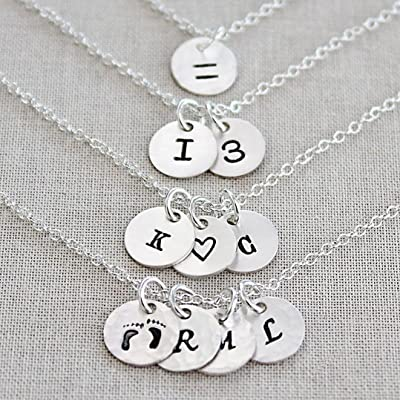 Personalized Tiny Disc Necklace - Dainty Initials - 1, 2, 3, 4 or 5 Charms - Custom Sterling Silver