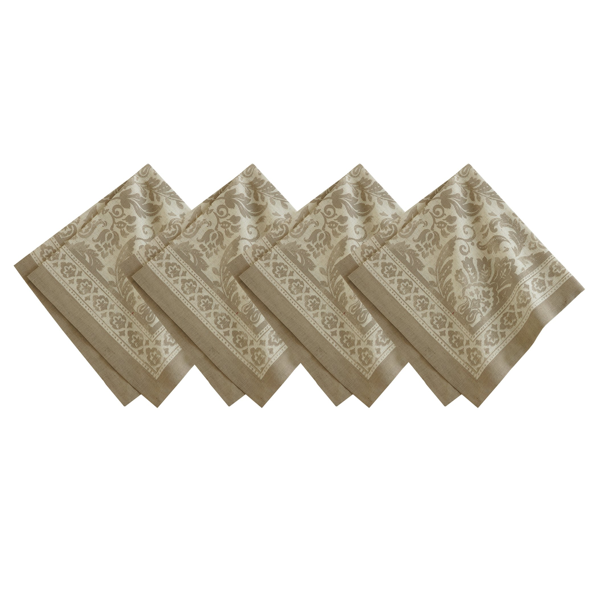 Villeroy and Boch Milano Print Cotton Fabric Napkin (Set of 4), 21''x21'', Taupe