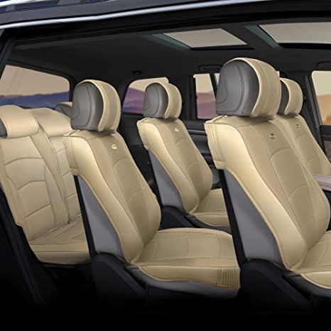 FH Group PU205013SOLIDBEIGE Solid Beige Ultra Comfort Leatherette Rear Seat Cushion