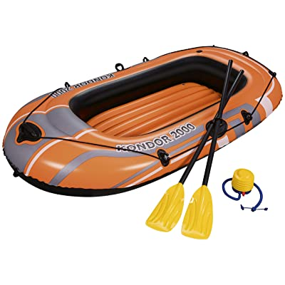 "Bestway H2OGO! HydroForce Inflatable Raft w/ Oars & Pump 77"" x 45"": Sports & Outdoors"