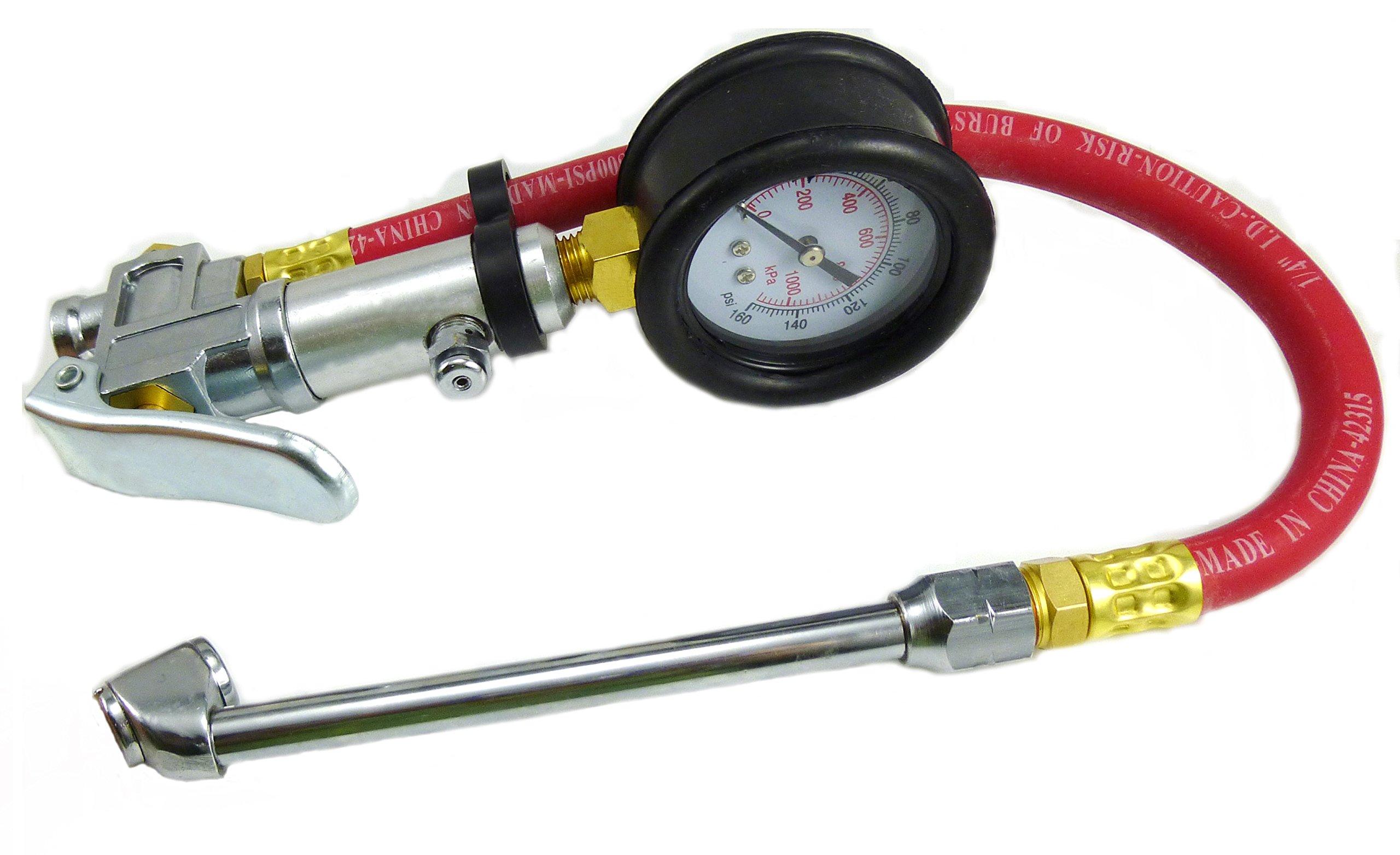 Dynamic Power Dual Foot Chuck Inflator Calibrated - 140 PSI. 100-100kpa in 20kpa. 1-10 bar in 0.2 bar gauge. D-TG-4